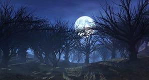tolkning 3d av det mörka fasalandskapet med den dimmiga skogen och den stora månen royaltyfri illustrationer