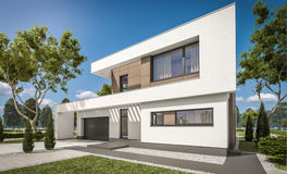 tolkning 3D av det moderna huset Royaltyfria Bilder