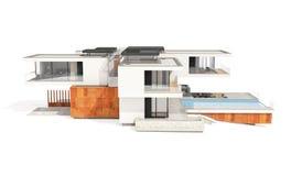 tolkning 3d av det moderna huset som isoleras på vit Royaltyfria Bilder