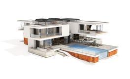tolkning 3d av det moderna huset som isoleras på vit Fotografering för Bildbyråer