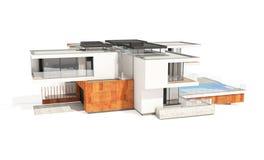 tolkning 3d av det moderna huset som isoleras på vit Arkivbild