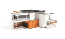 tolkning 3d av det moderna huset som isoleras på vit Arkivfoton