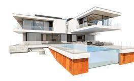 tolkning 3d av det moderna huset som isoleras på vit Royaltyfri Foto