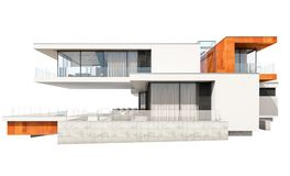tolkning 3d av det moderna huset som isoleras på vit Arkivbilder