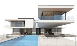 tolkning 3d av det moderna huset som isoleras på vit Royaltyfri Fotografi
