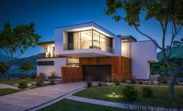 tolkning 3d av det moderna huset vid floden Royaltyfria Foton