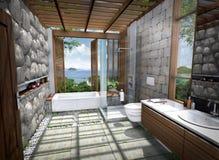 tolkning 3D av det tropiska huset Arkivfoto