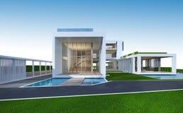 tolkning 3D av det tropiska huset med den snabba banan vektor illustrationer