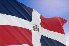 tolkning 3D av Dominikanska republikenflaggan som vinkar på backg för blå himmel Arkivfoton