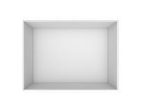 tolkning 3d av en ask för vitmellanrumsrektangel utan ett lock som sett från över Arkivfoton