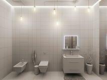 tolkning 3D av en badruminredesign för barn Royaltyfria Bilder