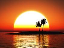 tolkning 3D av en härlig tropisk solnedgång royaltyfri illustrationer