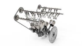 tolkning 3d av en inre förbränningsmotor Motordelar, vevaxel, pistonger, bränsletillförselsystem Pistonger för motor V6 stock illustrationer