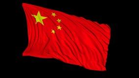 tolkning 3d av en kinesisk flagga Flaggan framkallar slätt i vinden royaltyfri illustrationer