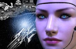 tolkning 3D av en kvinnlig robotframsida royaltyfri illustrationer