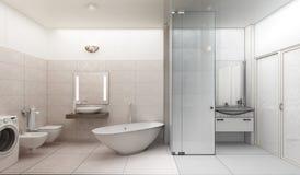 Tolkning 3D av en modern badruminredesign vektor illustrationer
