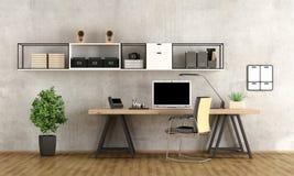 tolkning 3d av en modern workspace royaltyfri illustrationer