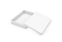 tolkning 3d av en mycket slank rektangelask med ett lock som ojämnt överst ligger, all vit i sidosikt Arkivfoton