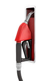tolkning 3d av en ny svart och en röd bränsledysa som fästas fortfarande till en hållare på vit bakgrund Royaltyfri Foto