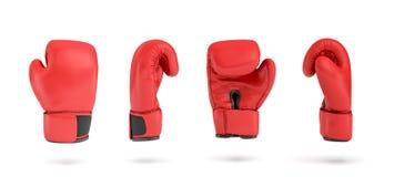 tolkning 3d av en röd höger boxninghandske i fyra olika vinkelsikter stock illustrationer