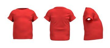 tolkning 3d av en röd T-tröja i realistisk fet form i sido-, framdel- och baksidasikt på vit bakgrund royaltyfri illustrationer