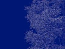 tolkning 3d av en skisserad trädritning på blått tillbaka Arkivbild