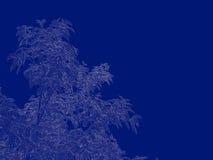 tolkning 3d av en skisserad trädritning som tillbaka isoleras på blått Royaltyfri Fotografi