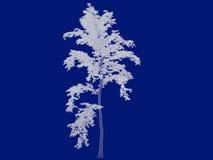 tolkning 3d av en skisserad trädritning som tillbaka isoleras på blått Arkivbilder
