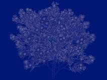 tolkning 3d av en skisserad trädritning som tillbaka isoleras på blått Arkivbild