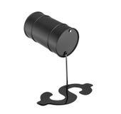 tolkning 3d av en svart olje- trumma som läcker olja och gör ett isolerat dollartecken på vit bakgrund Royaltyfri Fotografi