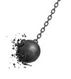 tolkning 3d av en svart svängande haverera boll som kraschar in i en vägg på vit bakgrund Arkivfoto