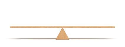 tolkning 3d av en träplanka som balanserar på en trätriangel som isoleras på vit bakgrund vektor illustrationer