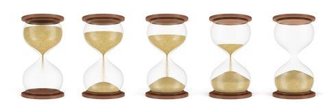 tolkning 3d av en uppsättning av flera timglas som står i en rad med sanden i olika etapper av att falla ner Arkivbilder
