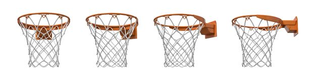 tolkning 3d av en uppsättning som göras av fyra basketkorgar med den orange öglas- och fixandekonsolen stock illustrationer