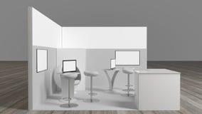 tolkning 3d av en vit utställningställning med ljus för olikt bruk royaltyfri bild