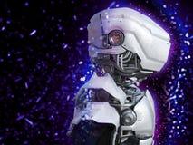 tolkning 3D av ett futuristiskt robothuvud Arkivfoton