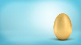 tolkning 3d av ett helt guld- ägg med metallisk reflexion på blå bakgrund stock illustrationer