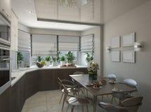 tolkning 3d av ett kök i beigea signaler Royaltyfri Fotografi
