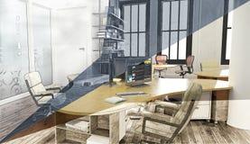 tolkning 3D av ett kontorsutrymme Royaltyfri Foto