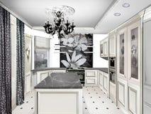 tolkning 3D av ett kontorsutrymme Hus projekt Klassiskt stilkök Royaltyfri Bild