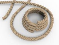tolkning 3D av ett nautiskt rep p? vit bakgrund stock illustrationer