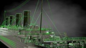 tolkning 3d av ett reflekterande enormt lastfartyg med skisserad gräsplan royaltyfri illustrationer