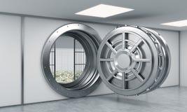 tolkning 3D av ett stort öppet runt metallkassaskåp i ett bankförvaringsrum Arkivbilder