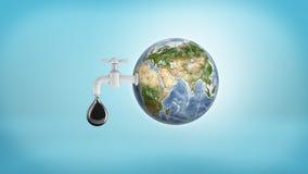 tolkning 3d av ett stort jordjordklot med en vattenkran i dess sida som läcker en stor olje- droppe på en blå bakgrund vektor illustrationer