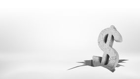 tolkning 3d av ett stort konkret dollartecken som halva-är stupat inom en stor yttersidajordskalvspricka Royaltyfri Foto
