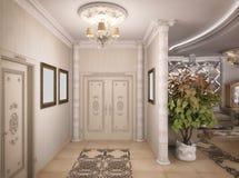 tolkning 3D av ett teckningsrum, korridor och kök i classica Fotografering för Bildbyråer