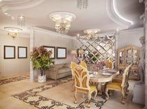 tolkning 3D av ett teckningsrum, korridor och kök i classica Arkivfoton