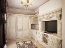 tolkning 3D av ett teckningsrum, korridor och kök i classica Royaltyfria Foton