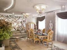 tolkning 3D av ett teckningsrum, korridor och kök i classica Royaltyfria Bilder