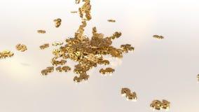 tolkning 3d av fallande tecken av dollar Royaltyfri Fotografi